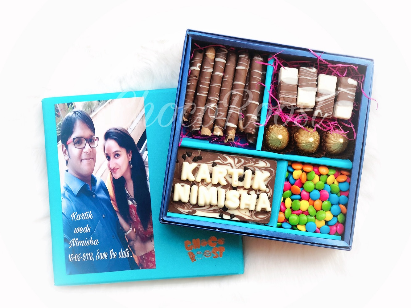 Wedding Couple Name Chocolate Box with Gems
